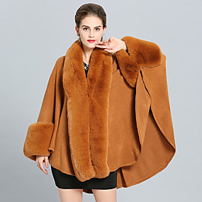 cheap -Women's Fall & Winter V Neck Cloak / Capes Long Solid Colored Daily Basic Faux Fur Black Blushing Pink Wine Camel One-Size / Loose