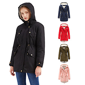 cheap -Women's Parka Long Coat Loose Jacket Solid Colored Blushing Pink Army Green / Cotton / Cotton