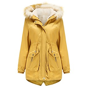cheap -Women's Parka Parka Solid Colored Long Poly&Cotton Blend Black / Red / Yellow M / L / XL / Loose