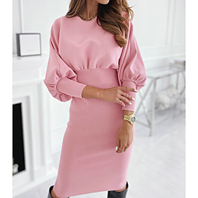 preiswerte -Damen Etuikleid Knielanges Kleid - Langarm Volltonfarbe Herbst heiß Freizeit 2020 Schwarz Rosa S M L XL