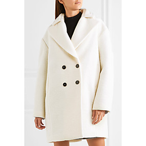cheap -Women's Solid Colored Basic Fall & Winter Coat Long Daily Long Sleeve Wool Coat Tops White