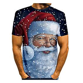 preiswerte -Herren T-Shirt 3D-Druck Grafik 3D Kurzarm Weihnachten Oberteile Grundlegend Schwarz / Weiß