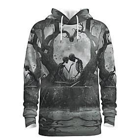 preiswerte -Herren Pullover Hoodie Sweatshirt Grafik Totenkopf Motiv Mit Kapuze Halloween Wochenende 3D-Druck Freizeit Kapuzenpullover Sweatshirts Langarm Grau