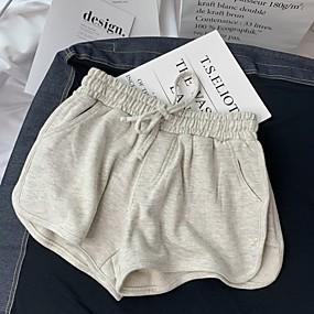 cheap -Women's Basic Breathable Slim Daily Shorts Pants Solid Colored Short High Waist Black Light gray Dark Gray