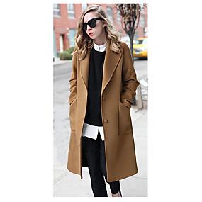 cheap -Women's Spring Hidden Shirt Collar Coat Long Solid Colored Daily Basic Black Khaki M L XL XXL / Fall / Holiday / Slim