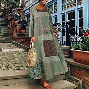 preiswerte -Damen Swing Kleid Maxikleid - Langarm Druck Patchwork Druck Frühling heiß Freizeit Boho Lose 2020 Blau Rote Grün S M L XL XXL 3XL 4XL 5XL