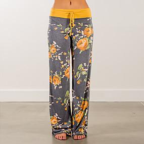 cheap -womens wide leg lounge pants comfy stretch floral print drawstring palazzo pants (yellow, medium)