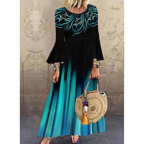 cheap -Women's Shift Dress Maxi long Dress Blue Long Sleeve Polka Dot Geometric Layered Print Fall Spring Round Neck Hot Vintage vacation dresses Flare Cuff Sleeve Loose 2021 M L XL XXL 3XL