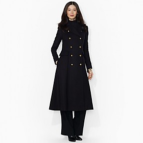 cheap -Women's Solid Colored Basic Fall & Winter Coat Long Daily Long Sleeve Wool Coat Tops Black