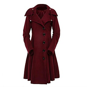 cheap -Women's Fall & Winter Single Breasted Coat Long Solid Colored Daily Basic Black Red Wine Camel S M L XL