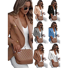 cheap -Women's Blazer Solid Colored Work Spandex Causal Normal Coat Tops White / Notch lapel collar