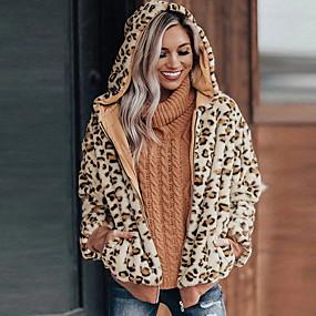 cheap -Women's Open Front Faux Fur Coat Regular Leopard Daily Basic Khaki Brown S M L XL