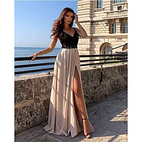 cheap -Women's Swing Dress Maxi long Dress Black Sleeveless Solid Color Split Lace Patchwork Spring Summer V Neck Hot Elegant Sexy Party Going out 2021 S M L XL