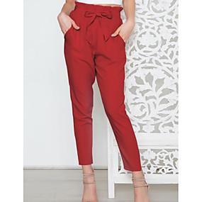 abordables -Femme Sportif Chino Pantalon Couleur Pleine Rouge Rose Claire Vert Véronèse Fuchsia Gris Clair
