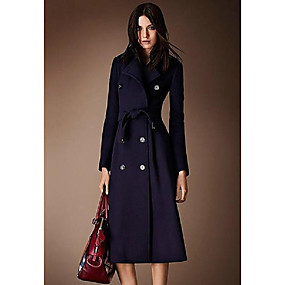 cheap -Women's Fall & Winter Coat Long Solid Colored Daily Basic Wool Navy Blue S M L XL