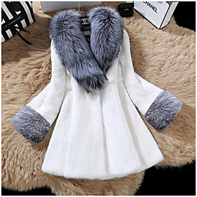 cheap -Women's Fall & Winter Open Front V Neck Faux Fur Coat Long Solid Colored Daily Basic Fur Trim Faux Fur White Black XS S M L