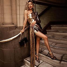 preiswerte -Damen Etuikleid Minikleid Langarm Volltonfarbe Herbst heiß Elegant 2021 Gold S M L XL