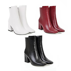 cheap -Women's Boots Block Heel Boots Block Heel Square Toe Booties Ankle Boots Casual Minimalism Daily Office & Career Leatherette Solid Colored Winter White Black Red / Mid-Calf Boots / EU41