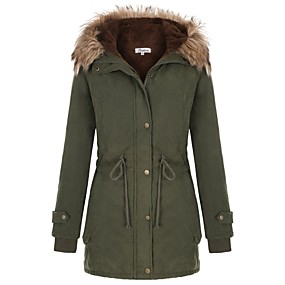 cheap -Women's Fall & Winter Zipper Coat Long Solid Colored Daily Basic Cotton Black Army Green S M L XL