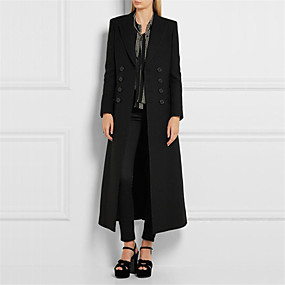 cheap -Women's Winter Notch lapel collar Coat Maxi Solid Colored Casual / Daily Oversized Cotton Black S M L XL