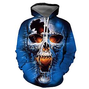 preiswerte -Herren Pullover Hoodie Sweatshirt Grafik Totenkopf Motiv Mit Kapuze Halloween Alltag Ausgehen 3D-Druck Grundlegend Freizeit Kapuzenpullover Sweatshirts Langarm Blau