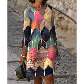 cheap -Women's Sheath Dress Knee Length Dress - 3/4 Length Sleeve Color Block Print Spring &  Fall V Neck Hot Elegant vacation dresses 2020 Rainbow M L XL XXL 3XL