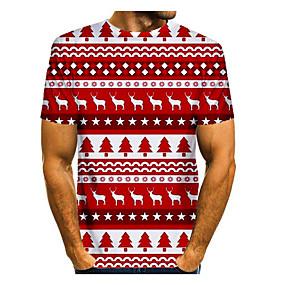 preiswerte -Herren T-Shirt 3D-Druck Grafik Einfarbig 3D Kurzarm Weihnachten Oberteile Grundlegend Rot / Weiß