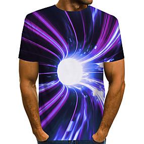preiswerte -Herren T-Shirt 3D-Druck Grafik 3D-Druck Druck Kurzarm Alltag Oberteile Grundlegend Übertrieben Purpur