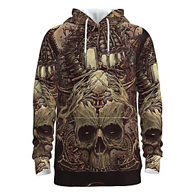 preiswerte -Herren Pullover Hoodie Sweatshirt Totenkopf Motiv Mit Kapuze Halloween 3D-Druck Grundlegend Halloween Kapuzenpullover Sweatshirts Langarm Gold