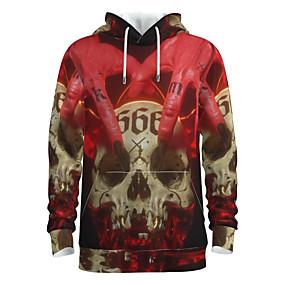 preiswerte -Herren Pullover Hoodie Sweatshirt Totenkopf Motiv Mit Kapuze Halloween 3D-Druck Grundlegend Halloween Kapuzenpullover Sweatshirts Langarm Rote