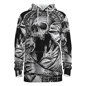 preiswerte -Herren Pullover Hoodie Sweatshirt Totenkopf Motiv Mit Kapuze Halloween 3D-Druck Grundlegend Halloween Kapuzenpullover Sweatshirts Langarm Grau