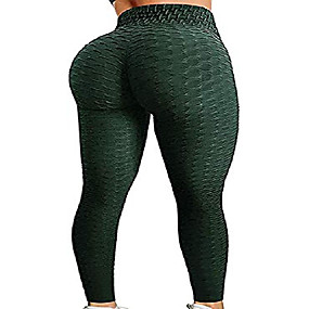 cheap -booty yoga pants women,high waisted ruched butt lift textured scrunch tummy control slimming leggings workout tights(deep green,xl)