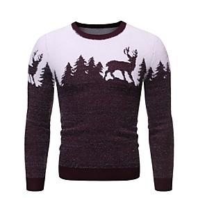 preiswerte -Herrn Weihnachten Geometrisch Tier Pullover Langarm Pullover Cardigans Rundhalsausschnitt Winter Schwarz Rote Marineblau