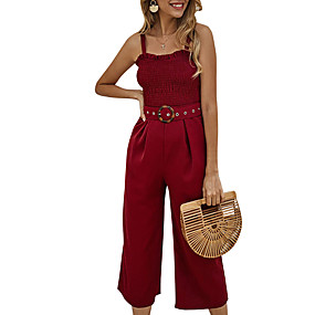 cheap -Women's Basic Black Wine Green Jumpsuit Solid Colored Backless