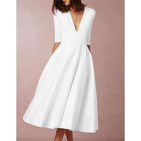cheap -Women's Prom Dress Swing Dress Midi Dress - Half Sleeve Deep V Hot Going out White S M L XL XXL 3XL