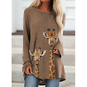 cheap -Women's Tunic Animal Graphic Prints Long Sleeve Print Round Neck Tops Basic Basic Top Khaki