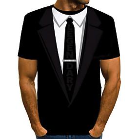 preiswerte -Herren T-Shirt 3D-Druck Grafik Druck Kurzarm Alltag Oberteile Grundlegend Übertrieben Schwarz