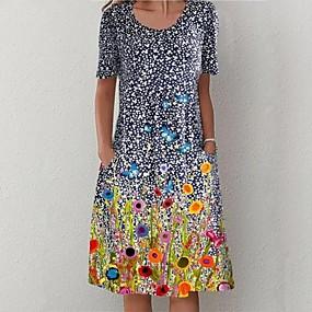 cheap -Women's Shift Dress Midi Dress - Short Sleeve Print Print Summer Hot Casual vacation dresses 2020 Blue S M L XL XXL 3XL 4XL 5XL