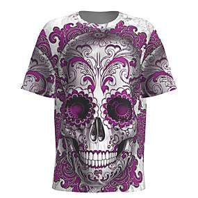 preiswerte -Herren T-Shirt 3D-Druck Grafik Totenkopf Motiv Kurzarm Halloween Oberteile Grundlegend Purpur