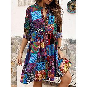 cheap -Women's Swing Dress Short Mini Dress - Long Sleeve Print Patchwork Print Spring Fall Hot Casual vacation dresses Cotton Slim 2020 Blue M L XL XXL 3XL 4XL 5XL