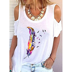 cheap -Women's Blouse Shirt Leaf Cut Out Print Round Neck Tops Basic Basic Top White Black Blue