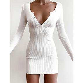 preiswerte -Damen Etuikleid Minikleid - Langarm Volltonfarbe Herbst V-Ausschnitt heiß Sexy 2020 Weiß Schwarz S M L XL