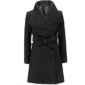 cheap -Women's Fall & Winter Trench Coat Long Solid Colored Daily Basic Black Khaki Green S M XL XXL