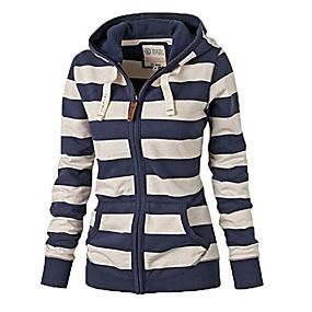 cheap -Women's Zipper Jacket Regular Striped Daily Print Cotton Blue S M L XL