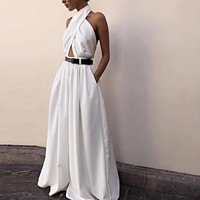 cheap -Women's Basic White Jumpsuit Solid Colored Backless Criss Cross