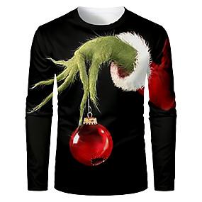 preiswerte -Herren T-Shirt 3D-Druck Grafik 3D Langarm Weihnachten Oberteile Grundlegend Schwarz