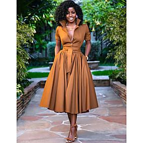 cheap -Women's A Line Dress Midi Dress Army Green Orange Half Sleeve Solid Color Button Summer Shirt Collar Hot Casual 2021 S M L XL