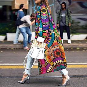cheap -Women's Coat Daily Fall & Winter Long Coat Regular Fit Streetwear Jacket Long Sleeve Geometric Rainbow
