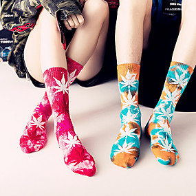 cheap -Athletic Sports Socks 1 Pair 1 Pack Tie Dye Long Women's Men's Crew Socks Tube Socks Breathable Sweat wicking Comfortable Gym Workout Basketball Running Active Training Skateboarding Sports Maple