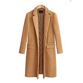 cheap -Women's Coat Daily Fall & Winter Regular Coat Slim Basic Jacket Long Sleeve Solid Colored Camel Black / Wool